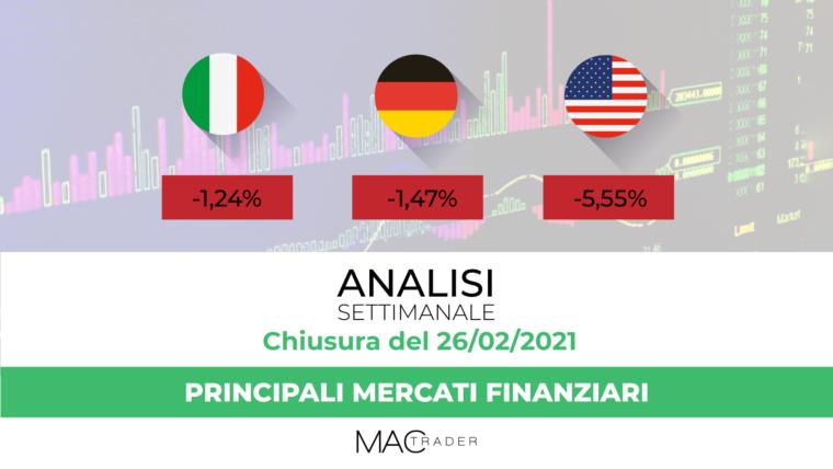 Analisi dei principali mercati finanziari alla chiusura del 26 Febbraio 2021
