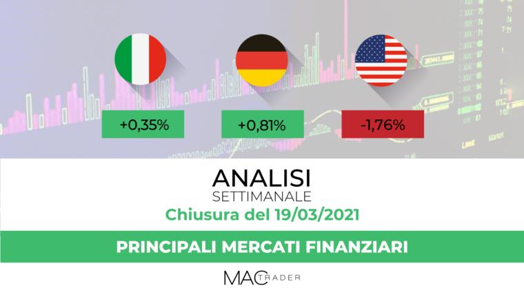 Analisi settimanale dei principali mercati finanziari alla chiusura del 19 Marzo 2021