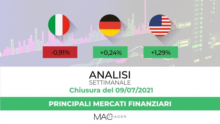 Analisi settimanale dei principali mercati finanziari alla chiusura del 9 Luglio 2021