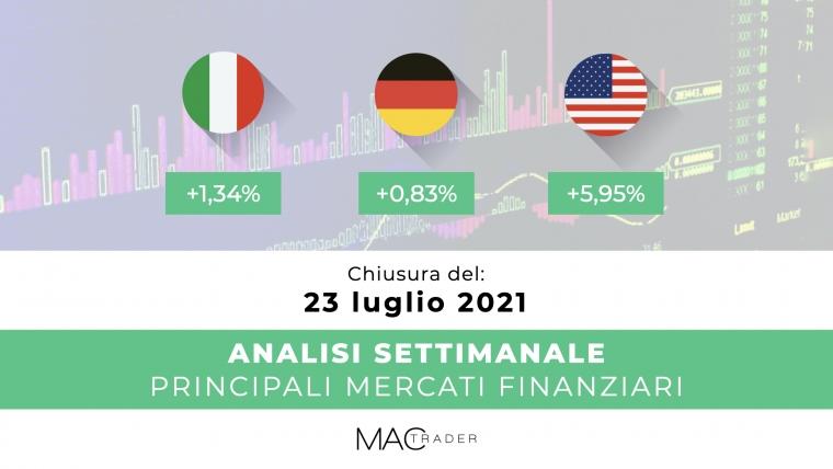Analisi settimanale dei principali mercati finanziari alla chiusura del 23 Luglio 2021