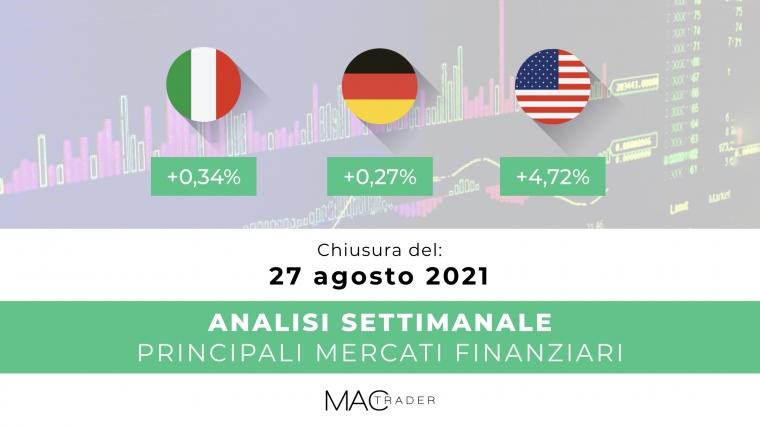 Analisi settimanale dei principali mercati finanziari alla chiusura del 27 Agosto 2021
