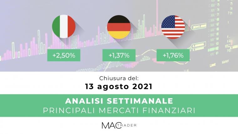 Analisi settimanale dei principali mercati finanziari alla chiusura del 13 Agosto 2021