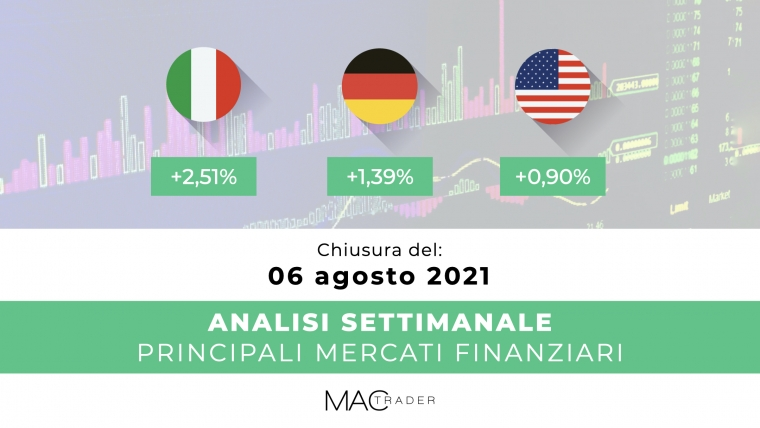 Analisi settimanale dei principali mercati finanziari alla chiusura del 6 Agosto 2021