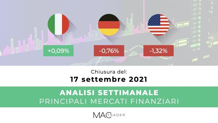 Analisi settimanale dei principali mercati finanziari alla chiusura del 17 Settembre 2021