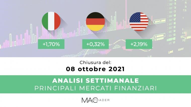 Analisi settimanale dei principali mercati finanziari alla chiusura del 08 Ottobre 2021